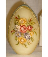 Beautiful Vintg Egg-Shaped Easter Candle, Floral Design - $7.95