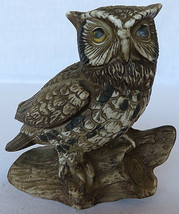 "Vintage HOMCO Great Horned Owl Sculpture Figurine Porcelain 5"" tall Taiwan - $30.00"