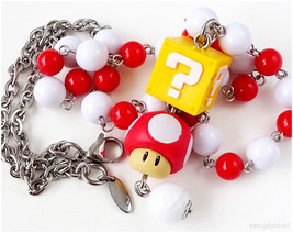 Super Mario Mushroom Necklace, Red, White, Gamer Girl, Kawaii Fashion - $27.00