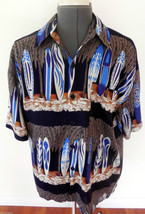 Royal Creations Mens Hand Made Aloha Rayon Shirt Surfboards Blue Brown ... - $24.74