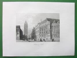 BELGIUM Town Hall at Gent - Antique Print - $9.00