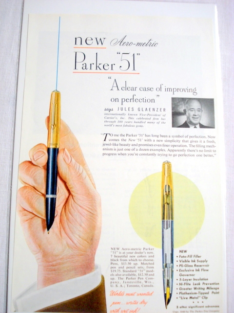 1949 Ad New Aero-Metric Parker 51 Fountain Pen