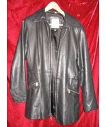 Womens Avanti 3/4 Black Leather Jacket Coat M $330 - $45.00