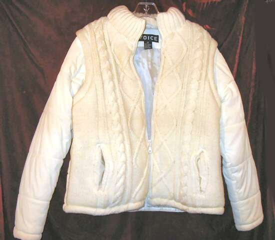 Lady's Voice White Winter Jacket Vest Coat M