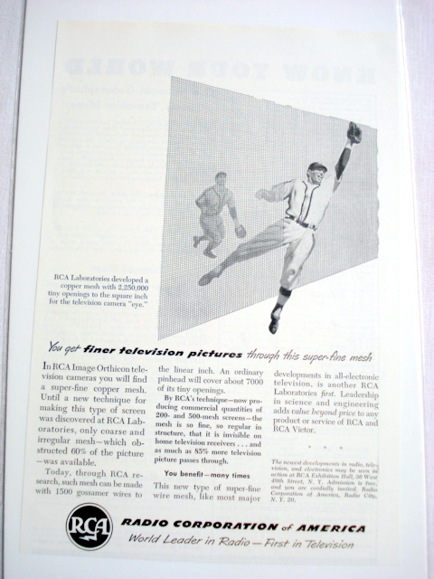 1949 RCA Television Ad Finer Tevision Pictures