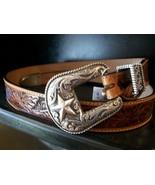 Justin Men's Floral Hand Tooled Belt, Brown,  S... - $38.00