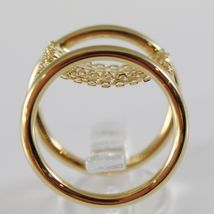18K YELLOW GOLD BAND RING WITH MULTI WIRES DIAMOND CUT CHAINS, MADE IN ITALY image 3