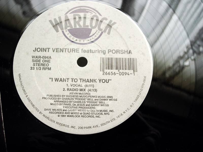 Joint Venture featuring Porsha - I Want To Thank You - Warlock Records WAR-094