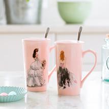 SPXU Pink Beautiful Stylle Ceramic Mug with Lid Coffee Mugs - $35.95