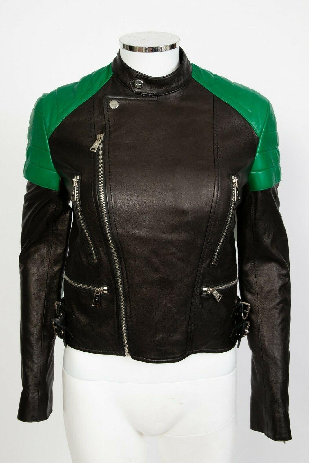Ralph Lauren Black Label Qulited Lambskin Leather Biker Moto Jacket sz 2 4