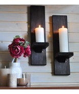 Pair Chestnut Rustic Candle Holder or Wall Sconces, Rustic Home Decor Ca... - $38.99
