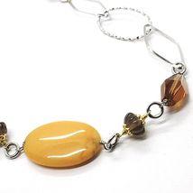925 Silver Necklace, Brown Jade Oval, Smoky Quartz, 80 cm long image 3