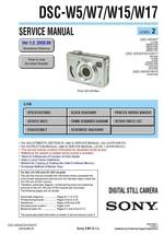 SONY DSC-W15 DSC-W17 CAMERA SERVICE REPAIR MANUAL - $7.95