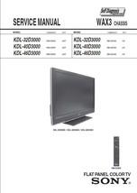 SONY KDL-32D3000 KDL-40D3000 KDL-46D3000 SERVICE MANUAL - $7.95
