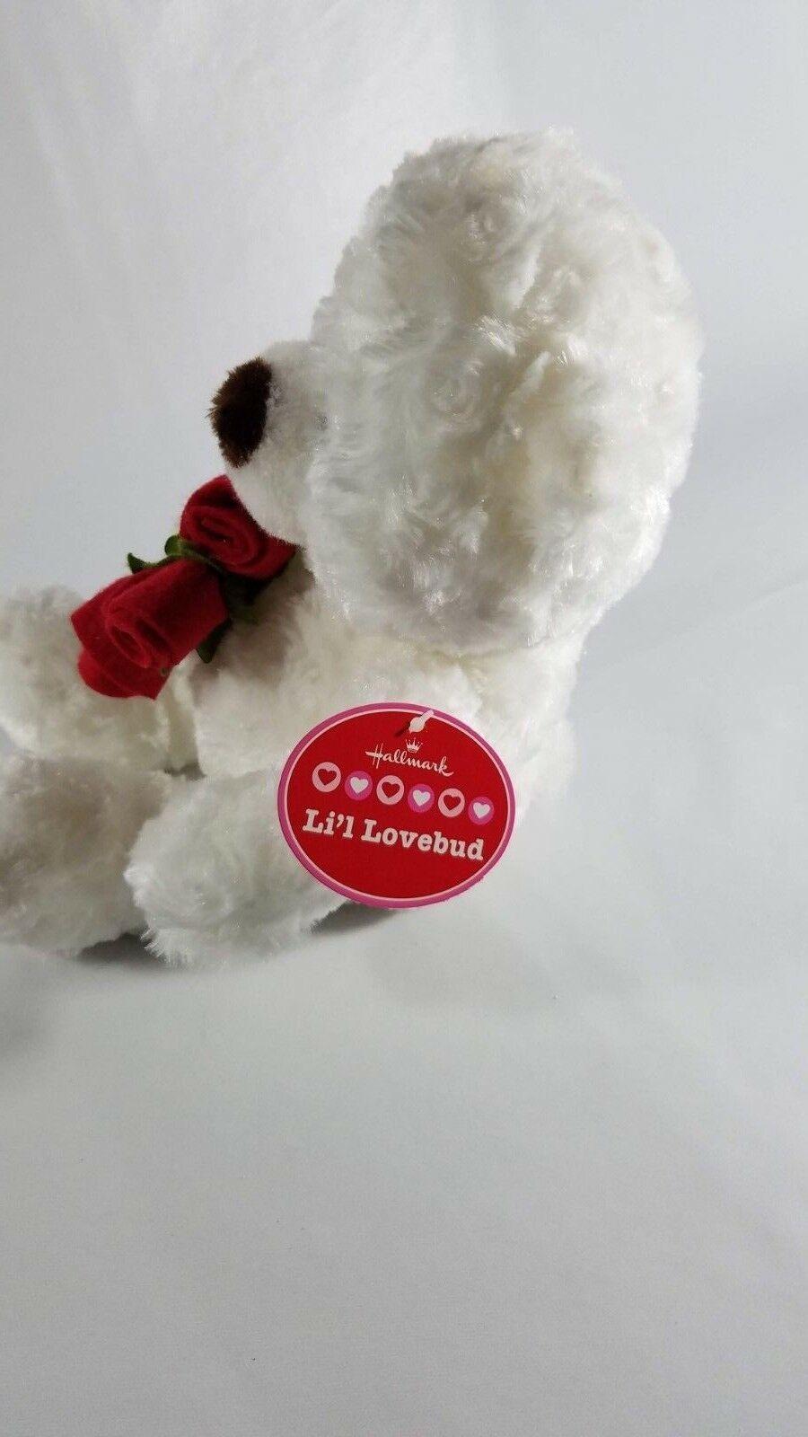 "Hallmark Li'l Lovebud White Bear Plush w/ Rose 11"" Stuffed Animal"