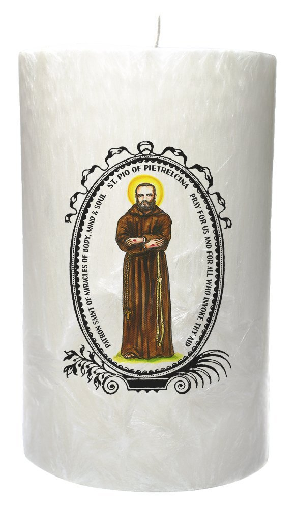 St Pio Patron of Miracles of Body Mind Soul 20 oz Prayer Candle