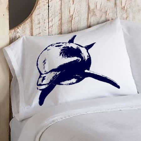 Navy blue dolphin pillowcase
