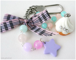 Kawaii Bag Charm, Beaded Keychain, Pastel Colors, Cupcake, Jfashion - $10.00