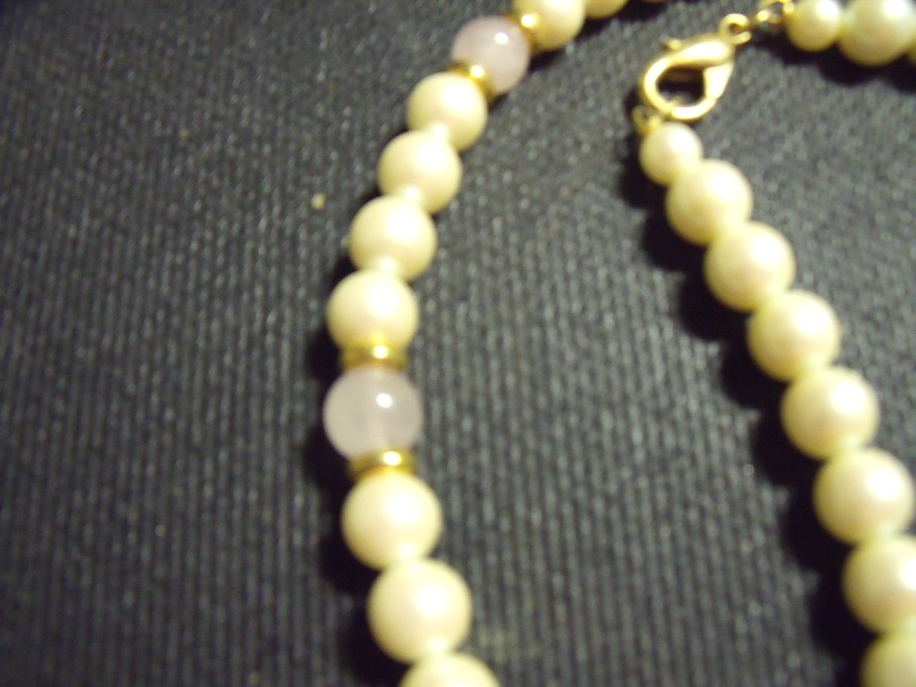 Pearl and Pink Quartz Necklace-Vintage 22 inches long & lobster claw clasp