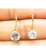 925 Sterling Silver - 2 Pairs Round Aquamarine Gold Plated Drop Earrings... - $25.06