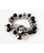Death the Kid Charm Bracelet, Black and White, Stripes, Anime Character,... - $37.00