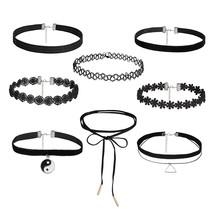 2017 IF YOU Fashion 8 PCS/Set Lace Long Chain Tattoo Choker Necklace Col... - $6.69