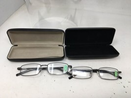 2 Pair Foster Grant +1.5 Fold Flat Reader Rectangular Glasses W/ Case Never Used - $30.40