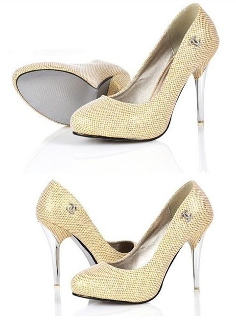 NWT Women's Golden Stiletto 4 inchs High Crystal high heel Pumps Size 5-7.5