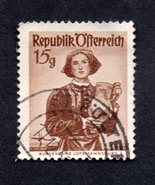 Used Austria Postage Stamp (1948) 15g National Costumes Burgenland - Scott 523 - $3.99