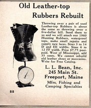 1960 Print Ad L.L. Bean Old Leather Top Rubbers Rebuilt  Freeport,Maine - $9.53
