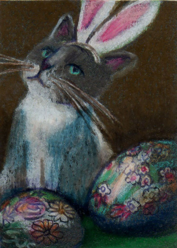 Original ACEO Draw easter bunny cat ukrainian eggs