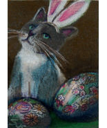Original ACEO Draw easter bunny cat ukrainian eggs  - $5.99