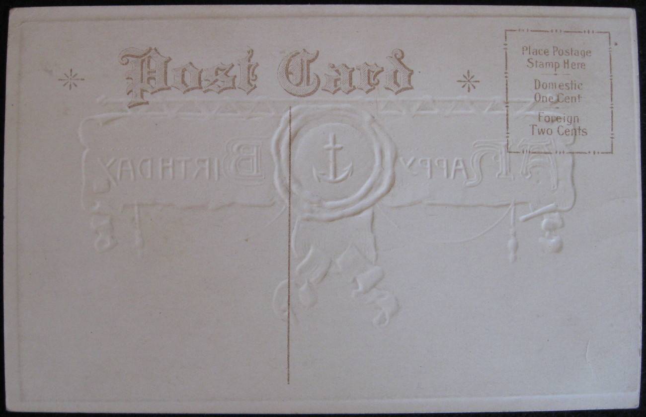 Embossed Topical Postcard, A Happy Birthday