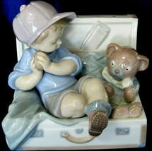 "Lladro #6795 ""My Favorite Place"" Boy Suitcase Teddy Bear Toy Chest Box Toys Euc - $296.99"