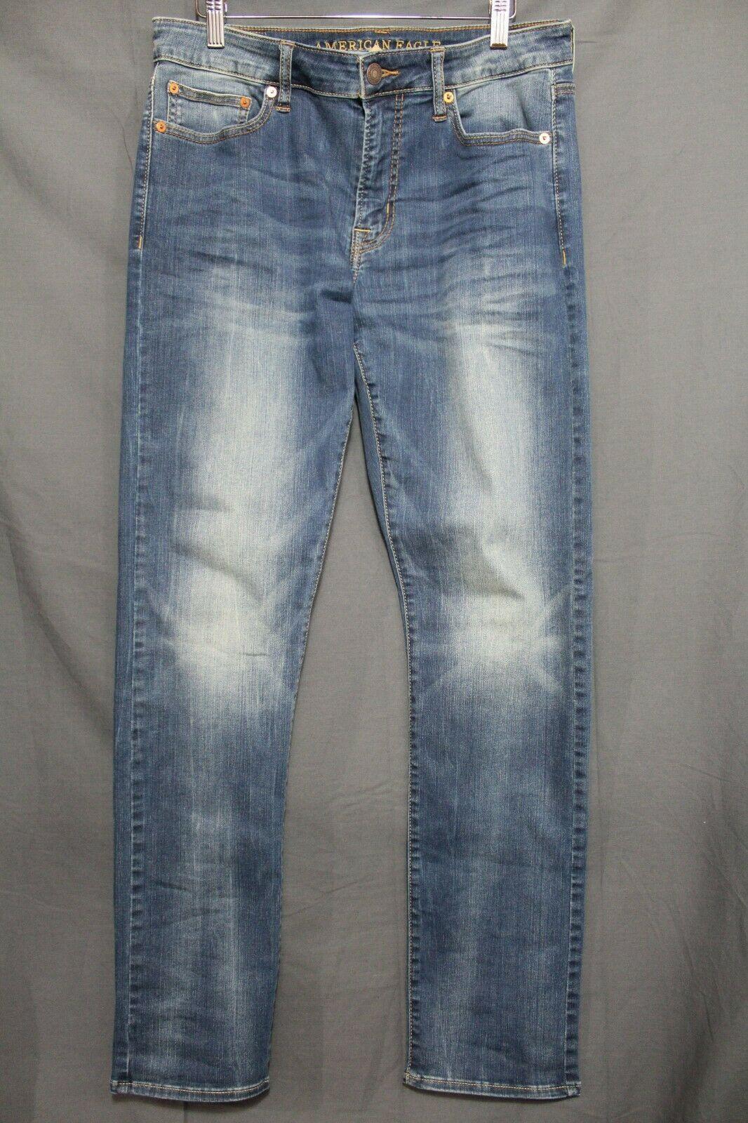 NEW Men's AE Slim Jeans Extreme Flex Faded Medium Blue Wash AEO 32 x  32
