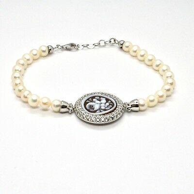 Armband 925 Silber mit Perlen Wasser Dolce Kamee Kamee Zirkonia Kubische