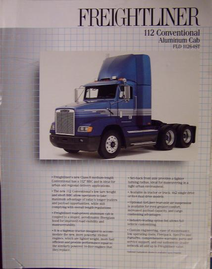 1990 Freightliner FLD112  Daycab Specifications Sheet Brochure