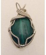 Wire Wrap Solid Sterling Silver Malachite Pendant - $90.00