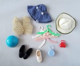 Vintage Barbie Accessories Sun & Rain Hats Vest Hangers Purse Shoes Clot... - $16.66