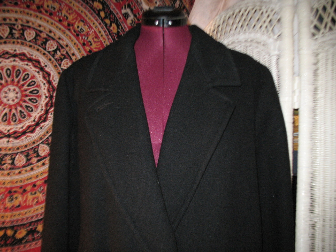 Donnybrook pure wool coat Black double breasted Winter dress jacket size 14