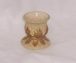 PartyLite Gold Leaf Candle Holder Votive Holder Marbled Ceramic P7148 - $9.95