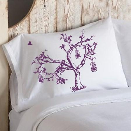 Violet oak tree pillowcase