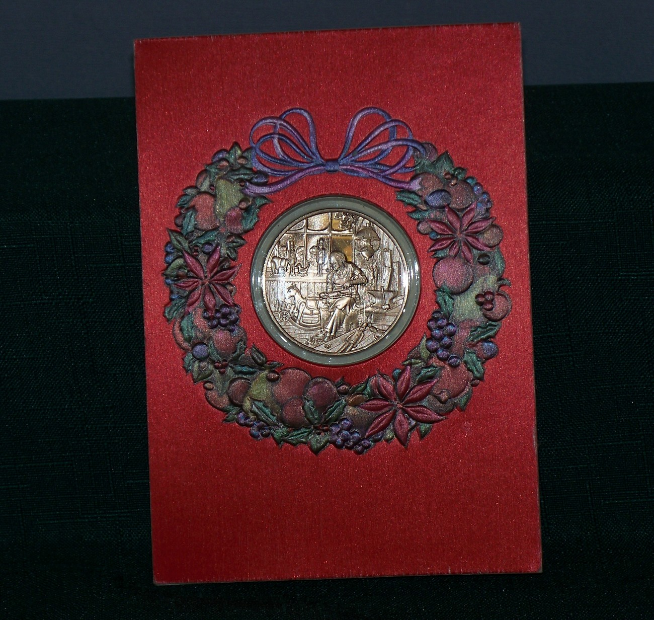 Franklin Mint The Toymaker's Shop Coin And Christmas Card 1976 VGC