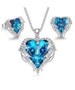 Wings of an Angel Heart Blue Topaz Necklace and Earring Set - $40.03
