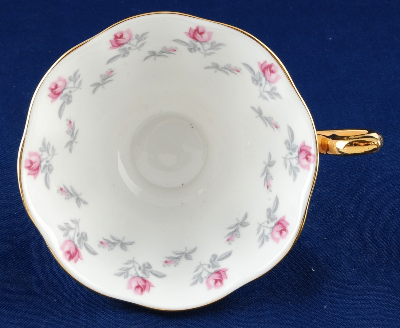 Royal Albert Winsome China Cup Pink Exterior Roses Gold Trim