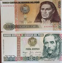 2 Notes from Banco Central De Reserva Del Peru UNC: 1000 Intis & 500 Intis - $1.95