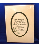 Lori Voskuil Calligraphy of Helen Keller Must be Felt Quote Matted Oval  - $3.99
