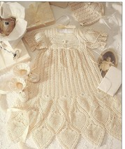 2 COMPLETE CHRISTENING ENSEMBLES~THREAD CROCHET PATTERNS - $34.99