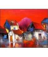 Red Sunset, a 24 x 32 commission original oil painting on canvas b - $179.00