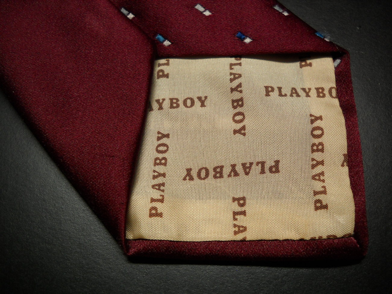 Playboy Neck Tie Bright Maroon Background with Blue Grey White Made in Italy